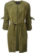 Steffen Schraut belted panelled coat - women - Goat Suede - 36