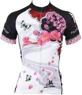 KMFEEL Peach Flower Summer Compression Women Cycling Short Sleeve Jersey Medium