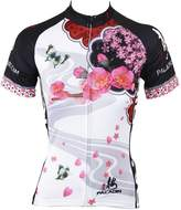 KMFEEL Peach Flower Summer Compression Women Cycling Short Sleeve Jersey X-Large