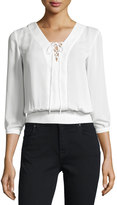 Laundry by Shelli Segal Lace-Up Woven Blouse, Warm White