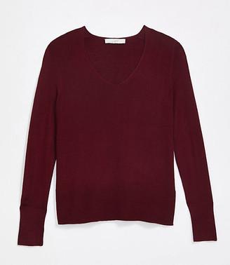 LOFT Petite Rib Trim V-Neck Sweater