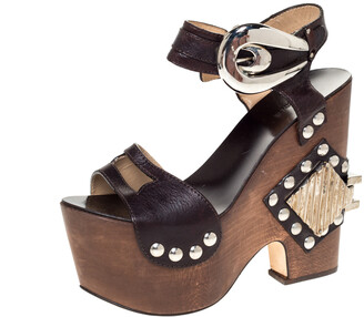 Roberto Cavalli Brown Leather Embellished Buckle Detail Platform Wedge Sandals Size 37