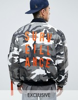 Reclaimed Vintage Camo Bomber Jacket With Back Print