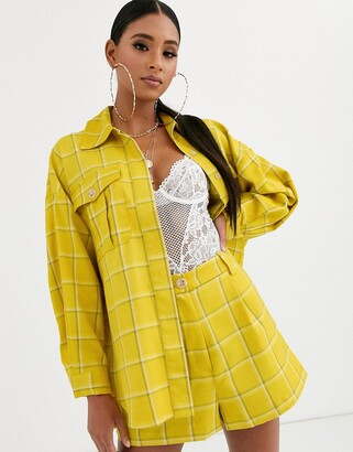 Asos Design DESIGN yellow check suit shacket-Multi