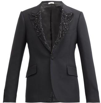 Alexander McQueen Crystal-embellished Wool-blend Tuxedo Jacket - Black