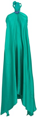 Galvan Lago Silk Jacquard Halter Dress