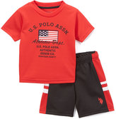 U.S. Polo Assn. Red 'Athletic Department' Tee & Mesh Shorts Set - Toddler & Boys