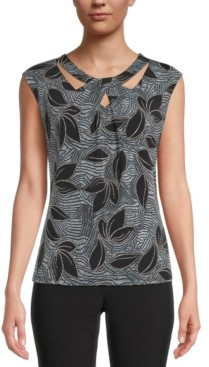 Kasper Printed Cutout Top