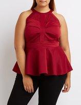 Charlotte Russe Plus Size Mesh-Trim Peplum Top