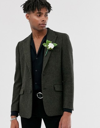 ASOS DESIGN wedding slim tweed wool mix blazer in khaki green