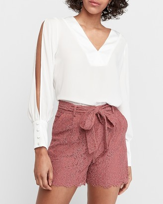 Express High Waisted Lace Sash Tie Shorts