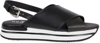 Hogan Black Leather Sandals