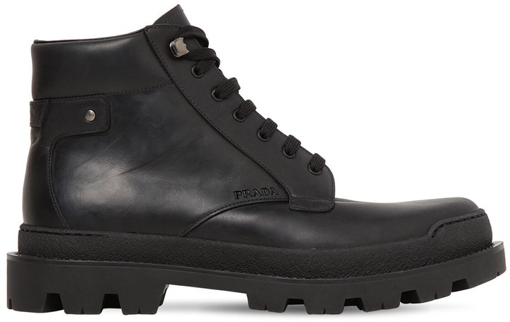 2e3343988c2 BRUSHED LEATHER LACE-UP BOOTS
