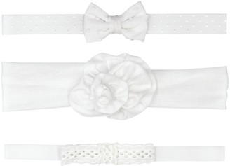 Fruit of the Loom Baby Girl 3-Pack White Bow Headwraps