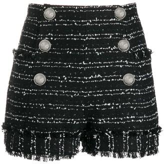 Balmain Tweed Double-Breasted Shorts