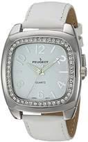 Peugeot Women's 'Swarovski Crystal Bezel' Quartz Metal and Leather Dress Watch, Color:White (Model: 310WT)