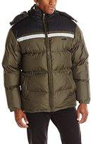 Avia Men's Color-Block Chest Stripe Puffer Jacket with Detachable Hood