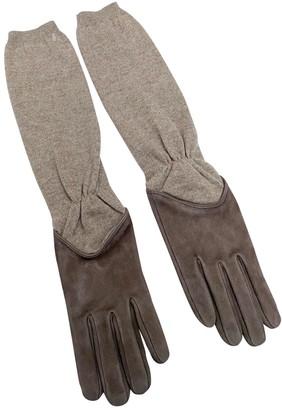 Brunello Cucinelli Beige Suede Gloves