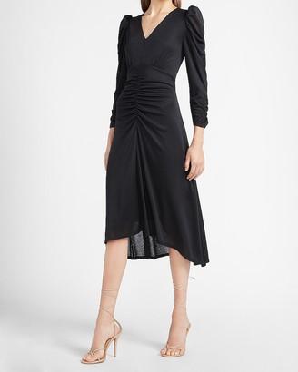 Express Ruched Long Sleeve Midi Dress