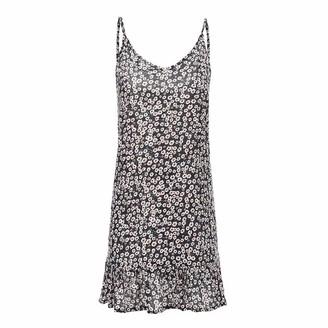 Toamen Women's Dress Toamen Summer Boho Vest Dress Sale Women's Floral Print Off-Shoulder Short Sleeve Swing A-line Mini Dress Princess Dress (Navy 14)