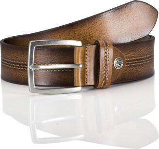 LINDENMANN men's leather belt/men's belt full grain leather cognac Groe/Size:115