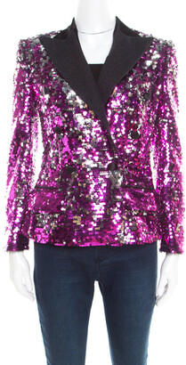 Dolce & Gabbana Fuscia Pink Sequin Paillette Embellished Velvet Trim Blazer S