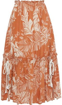 See by Chloe Gathered Printed Cotton-blend Gauze Midi Skirt