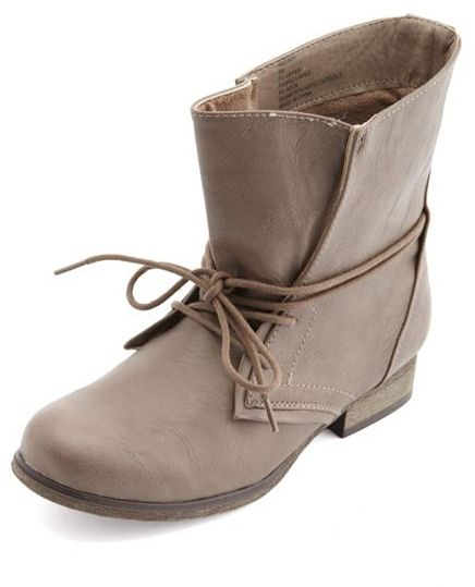 Charlotte Russe Wrapped Lace-Up Ankle Bootie