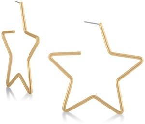 Rachel Roy Gold-Tone Star Large Hoop Earrings