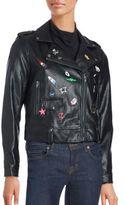 Bagatelle Pinned Faux Leather Moto Jacket