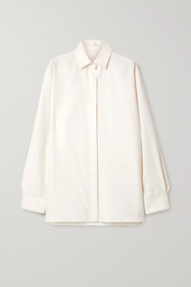The Row Big Sisea Oversized Wool And Silk-blend Poplin Shirt - Ivory