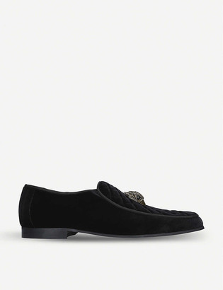 Kurt Geiger Hugh Eagle Head embellished velvet loafers