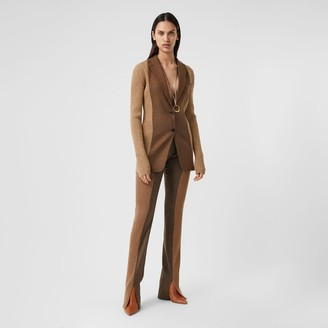 Burberry Rib Knit Panel Wool Cashmere Tailored Trousers