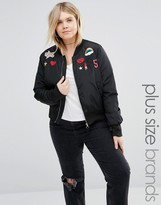 Brave Soul Plus Bomber Jacket With Badges