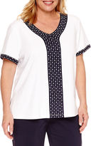 Alfred Dunner Seas The Day Short Sleeve V Neck T-Shirt-Plus