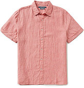 Perry Ellis Big & Tall Solid Linen Short-Sleeve Button-Front Woven Shirt