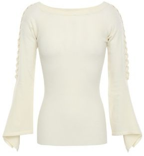 Autumn Cashmere Fluted Ribbed Merino Wool-blend Sweater