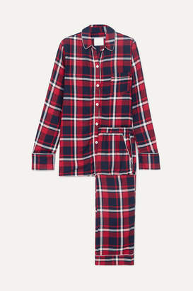 Three J NYC Checked Cotton-flannel Pajama Set - Red