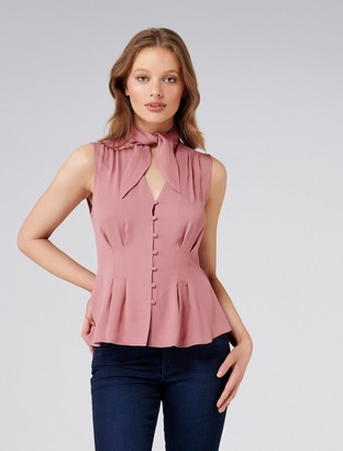 Forever New Bella Scarf Neck Tank - Dusty Rose - 4