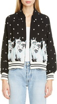 Undercover Siamese Cat & Stars Graphic Bomber Jacket