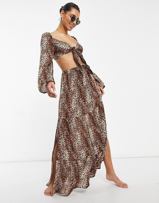 ASOS DESIGN beach co-ord maxi skirt in natural leopard print