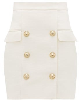 Balmain Buttoned Tailored Mini Skirt - White