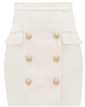 Balmain Buttoned Tailored Mini Skirt - Womens - White