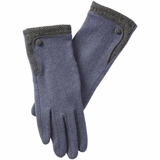 Tickled Pink Women's Herringbone Wool Button Gloves