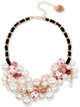 """Betsey Johnson Rose Gold-Tone Crystal & Imitation Pearl Ribbon-Woven Statement Necklace, 16"""" + 3"""" extender"""