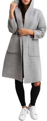 Belle & Bloom Walk This Way Grey Wool Blend Oversized Coat
