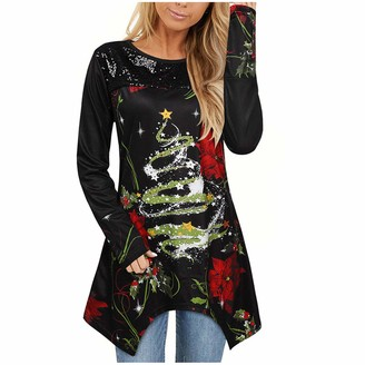 HEFYBA Christmas Tree Tunic Shirt Dress for Women Long Blouse Top Crewneck Long Sleeve Pullover Black