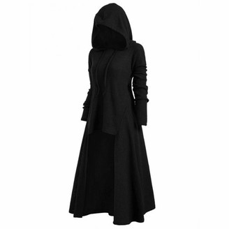 Shyy Pullover Women Hoodie Solid Color Waffle Knit Long Sleeve Asymmetrical Knee Length Gothic Long Coat Sweatshirt Elegant Warm Knitted Sweater Winter Casual Jumpers Top L
