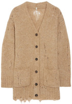 R 13 Distressed Knitted Cardigan - Camel