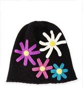 Portolano Floral Cashmere Beanie Hat, Black/Multicolor